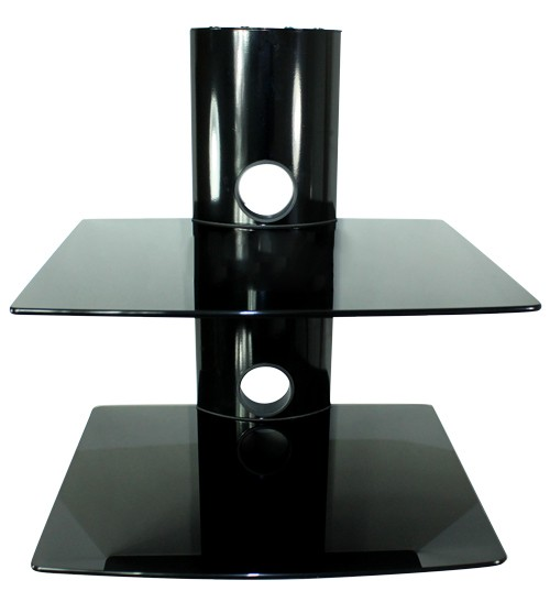 dvd hifi media glas regal mit 2 ablage in schwarz wandhalterung. Black Bedroom Furniture Sets. Home Design Ideas