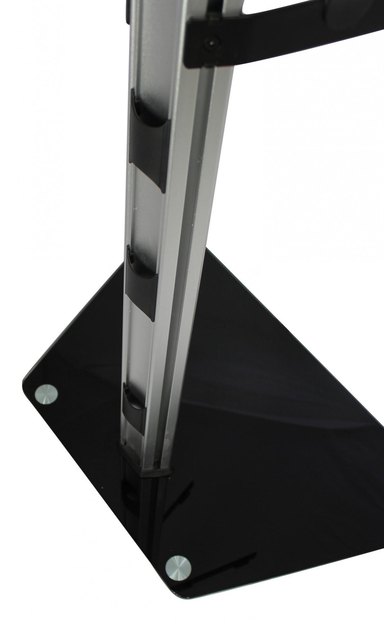 tv st nder standfu mit rollen h henverstellbar 26 47 zoll mit glasablage ebay. Black Bedroom Furniture Sets. Home Design Ideas